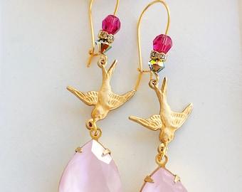 Pink Bird Earrings - Easter Earrings - Pink Dangle Earrings - Spring Jewelry - FLIGHT