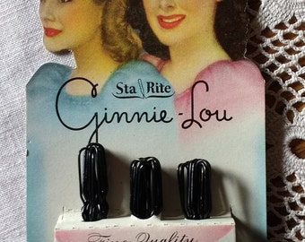 1940s Ginnie Lou Sta Rite Fine Quality Hair Pins size 1 3/4 inch invisible No.210 Made in USA By Sta Rite Ginnie Lou New Old Stock