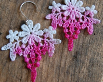 Pink Ombre Dip Dye Floral Venice Lace Earrings|Feminine|Statment Earrings| Delicate Embroidery Venise Lace| Pink Ombre Tie Dye Lace Dangle