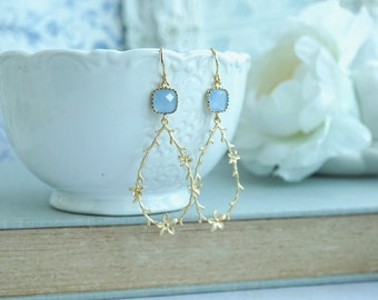 Twigs Flower Earrings CornFlower Blue Earrings Twig Earrings Rustic Wedding Dangle Earrings Woodland Gold Earrings Floral Twigs Powder Blue