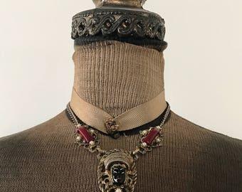 Vintage Goddess Woman Faux Pearl Statement Choker Necklace