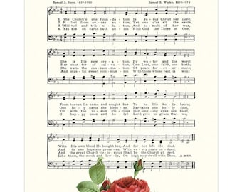 CHURCH'S ONE FOUNDATION Inspirational Hymn Wall Art Christian Home & Office Decor White Parchment Rose Sheet Music Art Vintage Verses Sale