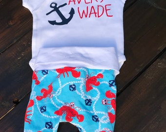 Nautical Birth Announcement/ Baby Bodysuit/ Baby Name Shirt/ Baby Shower Gift/ Anchor Baby Gift/ Beach Baby/ Baby Gift/ Baby Bodysuit