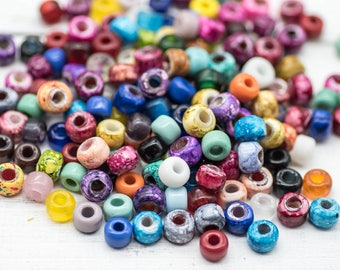 Crow Beads, Glass Beads, 200pcs, Mix Color,  9x7 mm, Glass Crow Beads, Pony Beads,   Bead Mix