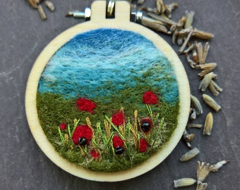 Needle felted mini hoop embroidery necklace pendant poppy fields ladies gifts