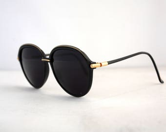 Retro 80s Yves Saint Laurent Sunglasses // Black and Gold // YSL
