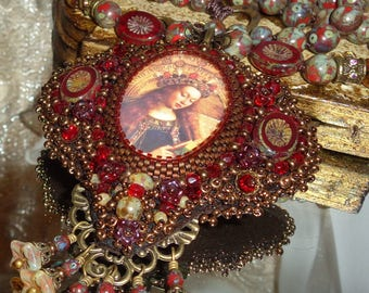 Mary's crown bead embroidery prayer necklace pendant sacred jewelry pamelia designs