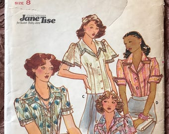 Butterick 1970's Young Designer Pattern # 4098 - Jane Tise - Blouses in 4 Styles, Insertion Lace, Sailor Collar, Flutter Sleeves - Size 8