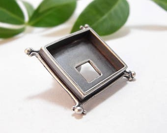 Square Bezel, Sterling Silver Bezel, Brooch Bezel, Frame Bezel, ideal for polymer and resin work