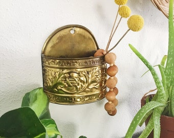 Small Brass Wall Pocket Planter with Embossed Design