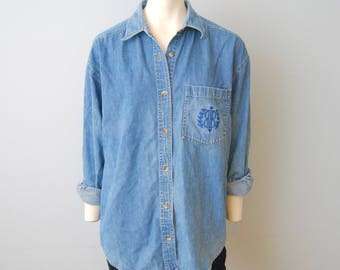Vintage Bill Blass Denim Chambray Button Down Blouse Shirt Top Women's Embroidered Logo on Pocket Basic Jean Long Sleeved Oversized Small