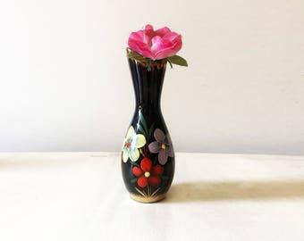 Hand painted vase, miniature vase, vintage vase, floral vase, small vase, tiny vase, vintage china vase, porcelain vase, collectible vase,