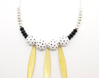 Brass Modern Beaded Necklace with Polka Dot Beads
