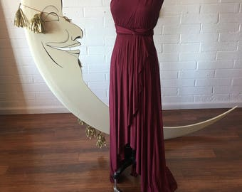 "Ready Made- Standard 48"" Length- Montecito Burgundy~ TULIP HEM CUT Infinity Wrap Gown"