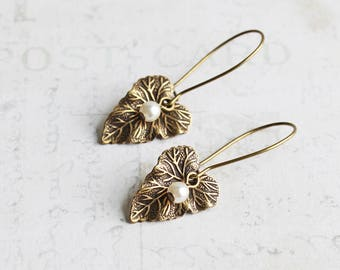 Small Antiqued Brass Leaf Dangle Earrings with Custom Pearl Color