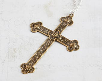 Large Antiqued Brass Cross Pendant Necklace on Silver Plated Chain