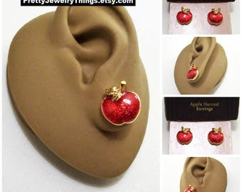 Avon Red Harvest Apple Pierced Stud Earrings Gold Tone Vintage 1994 Clear Glaze Pebbled Back Curved Stem Round Buttons Surgical Steel Posts
