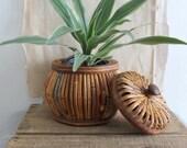 Vintage Round Lidded Rattan Storage Basket
