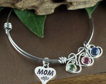 Mother Bangle Bracelet, Gift For Mom, Mom Birthstone Bracelet, Mommy Bracelet, Silver Heart Bracelet, Mothers Birthstone Bracelet