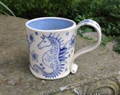 Seahorse Mug - stoneware ceramic handmade coffee cup horse ocean