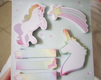 Cute Unicorn Magical Magic Sticky Notes Pink Notepads with Hearts Rainbows Rainbow Quotes Note Pad Girly Post It Its Stripes Notepad