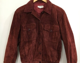 vintage ann taylor suede bomber jacket/ 90s/ normcore