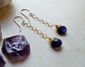 Iolite Drop Earrings, Deep Purple Drops, Blue Purple Dangle Earrings:  Ready Made