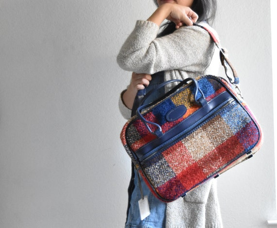 vintage plaid blue red travel bag luggage / shoulder bag / messenger bage / tote