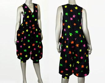 SALE - 80s Jumpsuit Festival Outfit • Day Glow Star Print Black Jumpsuit w/ Bows • Sleeveless Pantaloon Pant Cotton Jumpsuit Romper Onesie