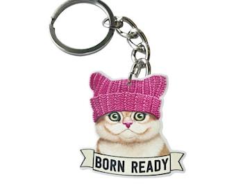 Born Ready Keychain - Kitten - Key Ring -  Ginger Cat - Funny - Cat - Cat Lover Gift-  Pun Gift - Mom - Dad - Baby Shower - Pendant - Cute
