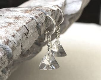 Silver Trillion Cut Crystal Earrings
