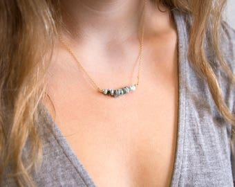 Blue Larimar Necklace, Genuine Gemstone Bar Necklace, December Birthstone, Raw Stone Necklace, Bead Bar Necklace, Layering Necklace, Healing