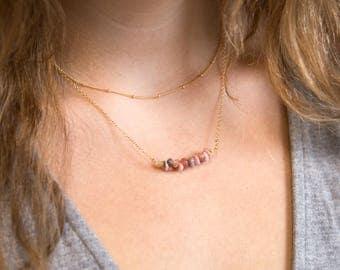 Genuine Gemstone Necklace, Rhodochrosite Necklace, Layering Necklace, Gem Bar Necklace, Healing Crystal Jewelry, Dainty Stone, Gift for Her
