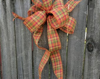 Fall Wreath Bow, Wreath bow, Plaid Bow Fall for Wreath, Pumpkin decorating, Fall Wedding Wreath Ribbon, Lantern, Simple Informal Plaid Wired