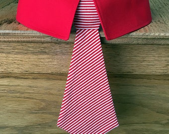 Christmas Dog Tie with Red and White Stripes, Dog Neck Tie or Dog Bow Tie and Collar, Christmas Dog Bow Tie, Holiday Dog Tie