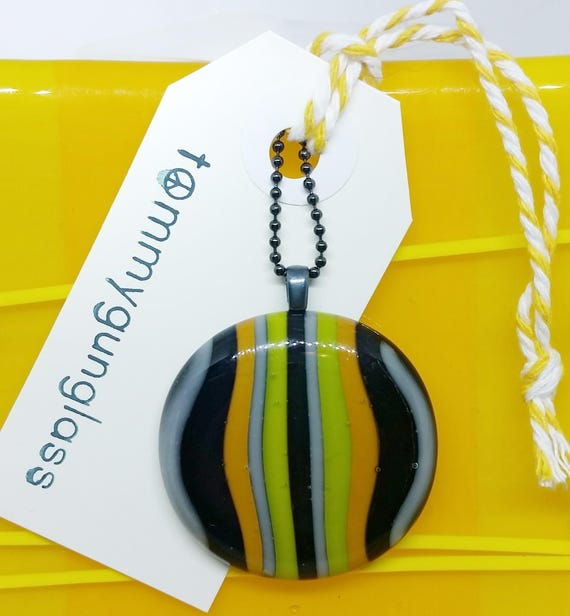 Striped Grey, Black, Orange and Yellow Fused Glass Pendant with Chain