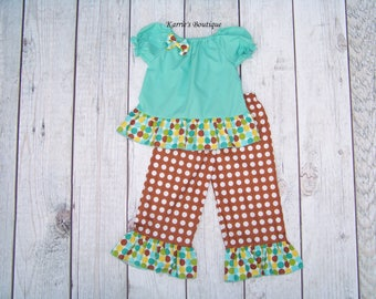 Polka Dot Ruffle Outfit / Shirt + Pants / Aqua & Brown / Birthday / Newborn / Infant / Baby / Girl / Toddler / Custom Boutique Clothing