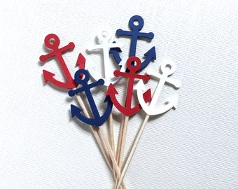 Mini Nautical Anchor Cupcake Toppers, Red, White, Blue, Birthday, Shower, Wedding, Party Decor, Patriotic, Double-Sided, Set of 18