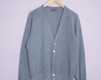 Vintage 1980's Heather Grey Jantzen Cardigan Sweater M