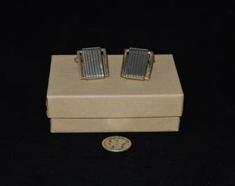Mid Century Two Tone Square Swank Cufflinks