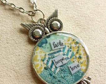 faith hope love - Owl Art Pendant - Inspirational Message - FREE SHIPPING