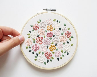 Matisse Inspired Roses Bouquet - Embroidery Hoop Art - 5 inches wide