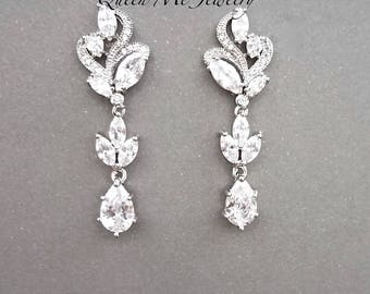 Cubic zirconia wedding earrings Marquise cut Brides earrings Wedding Bridal earrings Mother of the bride Bridesmaids LUX ~ LILLY