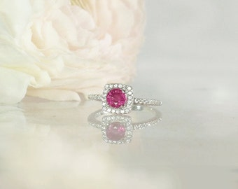 Ruby Ring, Dainty Ruby Ring, Natural Ruby Ring, Ruby Sterling Ring, Ruby Silver Ring, July Birthstone Ring, July Birthday Gift, Ruby Jewelry