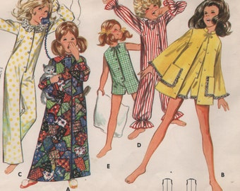 Girls Vintage Robes & One Piece Pajamas, Length Variations, Childs Size 6 1960s Sewing Pattern
