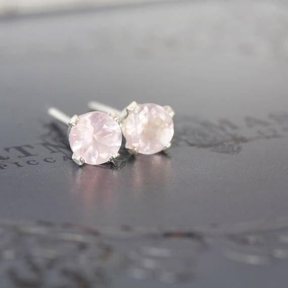 Rose Quartz Earrings - Silver Stud Earrings