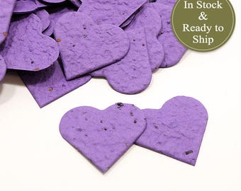 Royal Purple Plantable Seed Paper Confetti Hearts - READY-TO-SHIP - Wedding Favors, Bridal Shower Favors, Baby Shower Favors, Party Gifts
