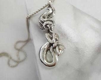 Mermaid Necklace in Sterling Silver, Silver Mermaid Necklace, Mermaid Pendant Silver, sterling silver mermaid, mermaid jewelry