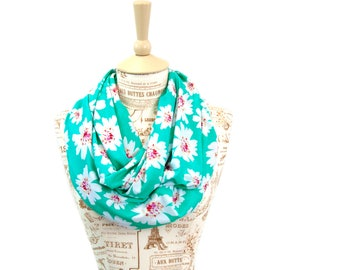 Floral Infinity Scarf, Mint Scarf, Printed Scarves, Floral Scarf, Mom Gift For Her, Wife Gift Girlfriend Gift, Boho Scarf, Womens Scarf