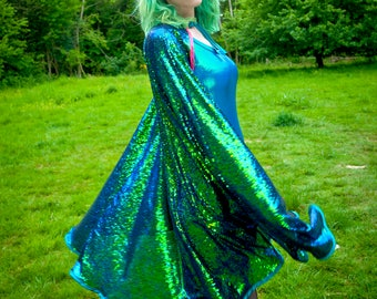 Holographic Sequin Cape Mermaid Unicorn Festival Glastonbury Burning Man
